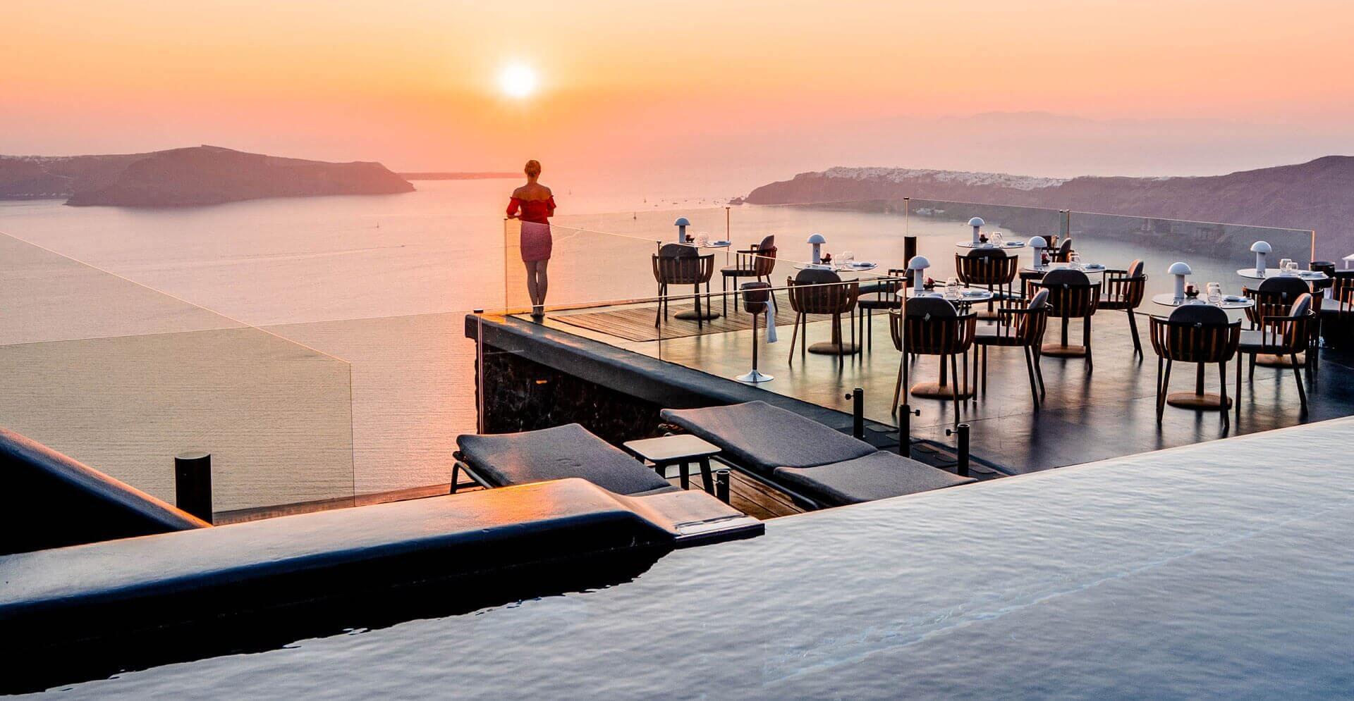 sunset view terrace santorini